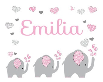 Personalized pillow with name and motif elephant pink girl/Boy