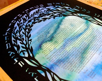 Olive Trees Papercut Ketubah - custom calligraphy Hebrew English - silhouette