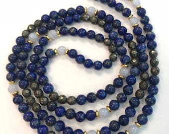 Lapis Lazuli + Pyrite + Blue Lace Agate