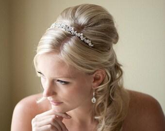 Gold Bridal Headband,  Wedding Tiara, Freshwater Pearl and Crystal Headband, Wedding Hair Accessory - YVETTE
