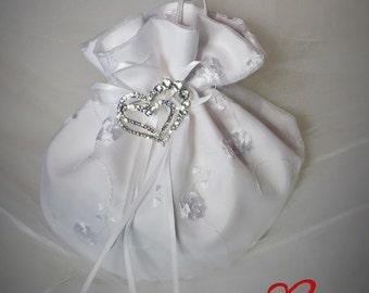 Dollar Dance Bag, Bridal Purse, Money Bag, Money Purse, Wedding Purse, Bridal Money Bag, White Satin Purse, Ivory Satin Purse