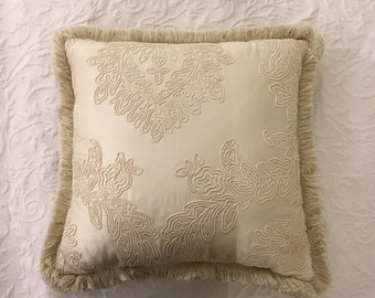 Luxury ivory silk pillow with trimmings