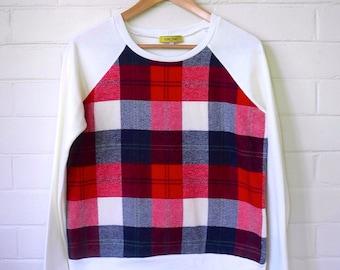 Plaid Organic Cotton Bamboo Sweater. Plaid Tartan Flannelette Insert Organic Bamboo Fleece Sweatshirt. Rockabilly Vintage Sweater. Raglan