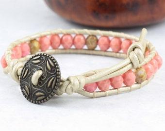 Champagne Gold Bracelet / Metallic Leather / Pink Wrap Bracelet / Bohemian Jewelry / Khaki Wrap Bracelet / Off White Jewelry / Gift for Mom
