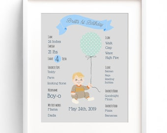 Custom First Birthday Illustration Print, First Birthday Decor, Personalized Children's Wall Art, First Birthday Gift, Baby Girl Gift