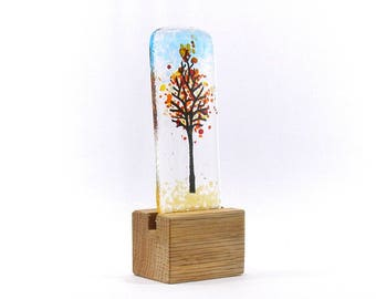 Fused Glass Mini Autumn Tree, in stand,  Kiln Fired, Gift,