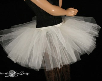 Ivory adult tutu skirt extra poofy dance bridal roller derby club gogo race wedding style -- You choose Size -- Sisters of the Moon