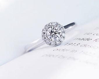 0.5 carat Moissanite Halo Engagement ring in 18k white gold, Bridal Ring,Diamond Alternative engagement ring