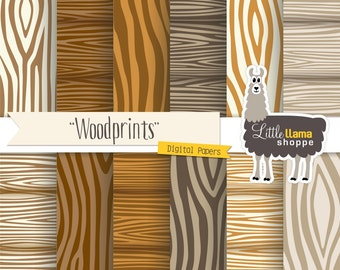 Faux Bois Wood Digital Paper, Wood Grain Scrapbook Paper Pack, INSTANT DOWNLOAD, Commercial Use, 8.5 x 11 and 12 x 12