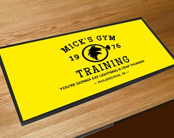 Mick's Gym yellow Training Rocky Movie Memorabilia Bar runner pubs clubs & Cocktail