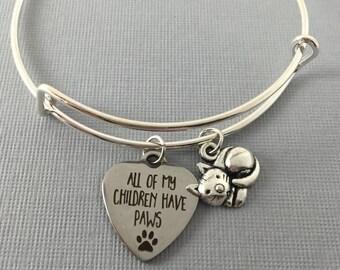 Cat - Cat Jewelry - Cat Lover Gift - Charm Bracelet - Cat Bracelet - Bangle Bracelet - Gift for Her - Mothers Day  - Cat Charm Bracelet