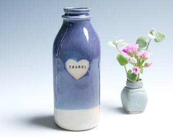 """Ceramic Milk Bottle Porcelain Vase / Purple """"Thanks"""""""