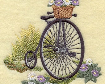 Penny Farthing with Flowers Embroidered Flour Sack Hand/Dish Towel