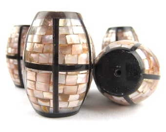 Mother of Pearl/Horn Mosaic Windowpane Bead, 2 pcs