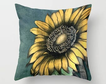 Sunflower  Throw Pillow, Floral art, decorative pillow, home decor, floral decor, botanical many other items available in this pattern!
