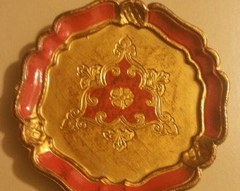 Italian Hand Painted Red and Gold  Collectable Plate