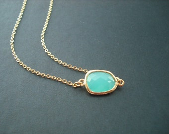 Aqua Blue bezel necklace - 16K gold plated, Bridesmaids gift, Wedding Gift