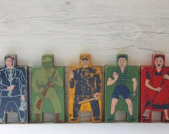 Vintage Lot of 5 Wood People Stacking Blocks, Vintage Wooden Picture Blocks, Wood Blocks