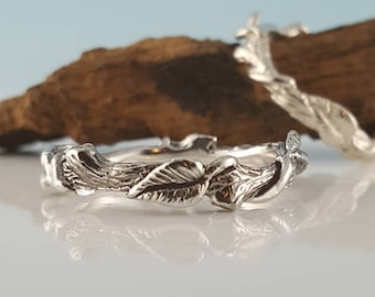 Promise Ring Hand Sculpted Leaf Twig and Vine in Silver, Engagement Ring, Custom Jewelry, Wedding Ring, Silver Ring by Dawn Vertrees Jewelry