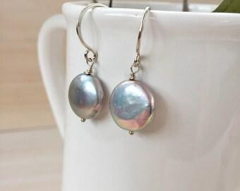 Silver Freshwater Pearl Earrings in Sterling Silver