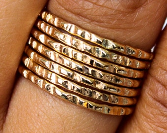 Stack Ring Gold - Coin Edge Hammered 7 Band Set