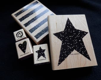 Rubber Stamps - Old Glory - Fourth of July - Americana - Patriotic - Stampin Up -  WM rubber stamp  (set of 5)