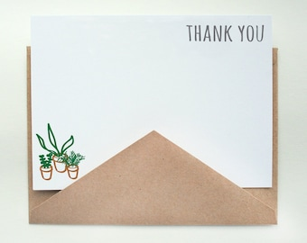 Tiny Plants Stationery -- Thank You -- Set of Flat Notes and Envelopes- CHOOSE your QUANTITY