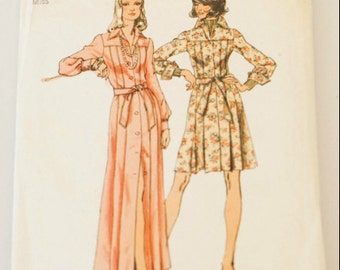 70s Pleated Shirt Dress and Maxi Simplicity 5909 VTG Sewing Pattern Size 12
