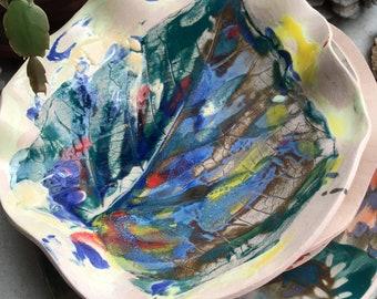 Leaf bowl, dinnerware, ceramic, pottery, color ceramics, fruit bowl, wedding gift