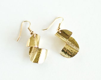 Brass Earrings Half Textured Swirl Antiqued Brass Hammered Textured Gilt Plated Findings