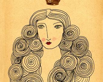 Lush- Archival Art Print, Crown, Queen, Woman