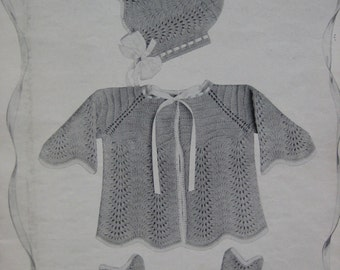 1950's Vintage Knitting Patterns Infants to 6 Months Sweater Bonnet Booties PDF Pattern 100