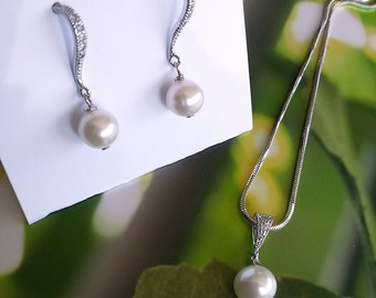 Pearl Necklace and Earring Set, Wedding Jewelry, Swarovski Pearl Jewelry, Bridesmaid Gift