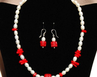 Pearl n Red Coral Necklace and Earring Set, Elegant Pearl Jewelry, Red & White Statement Jewelry, Freshwater Pearl Jewelry, June Birthstone
