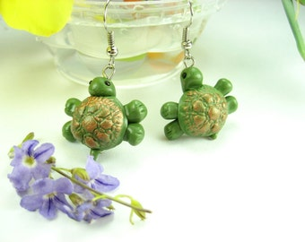 Green Turtle Earrings, turtle gifts, miniature animal, turtle jewelry, gift for women her, polymer clay, cute, unique gifts, dangle earrings
