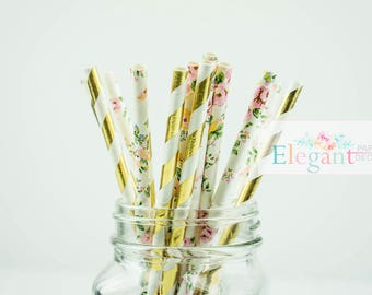 25 floral pink and foil gold straws/ paper straws decoration /birthday decor/ tableware straw /pink and gold paper straw/ foil gold stripe
