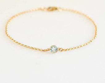 Blue Topaz Bracelet, Genuine Gemstone Bracelet, 14K Gold Round Bezel Blue Topaz Bracelet, Dainty Wedding Bracelet, Blue Gemstone Bracelet