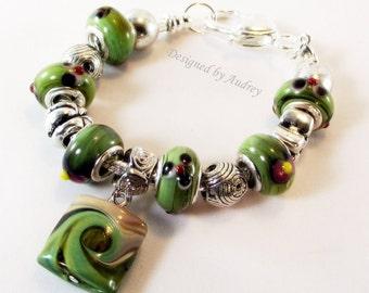 Peridot Green Lampwork Euro Style Charm Bracelet