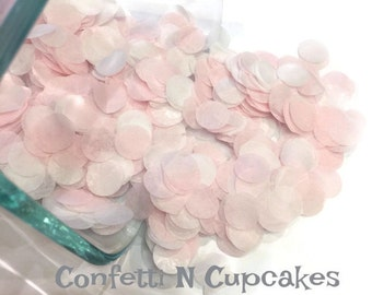 Tissue Paper Confetti, Blush pink and White circle confetti, party decor, table sprinkle, party confetti, 1st birthday decor, baby girl deco