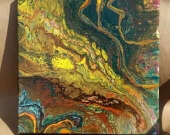Abstract Acrylic painting, 12 x 12 inch Blue-Aqua-Orange, Acrylic Pouring, Fluid Painting, Art Canvas, Wall Art, Modern Art