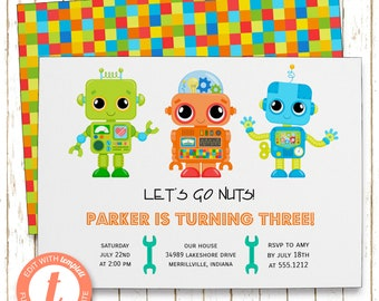 Robots Invitation | Boys Robots Kids Birthday Party | Printable Editable Digital PDF File | Instant Download | Templett | KBI210DIY