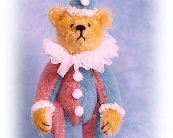 "PDF Pattern & Instructions for Miniature Teddy Bear - Fancy Clown Bear 2 5/8"" tall -  by Emily Farmer"