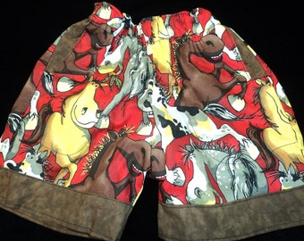 Reversible Horse Shorts 6 months-6 years//boys shorts//horse shorts//reversible short