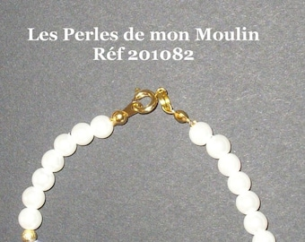 Set 2 Pieces beads white blue antiqued gold / Reference 201082