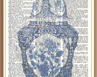 Antique Blue/ White Ginger Jar  with Lid No 1---Vintage Dictionary Art Print---Fits 8x10 Mat or Frame