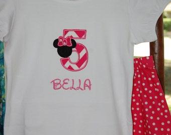 Mini Numbers Applique shirt & matching shorts