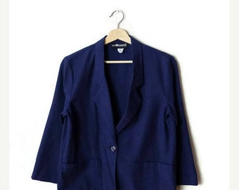 ON SALE Vintage Plain Navy Rayon/Polyester Light Blazer  Jacket from 1980's/Minimal*
