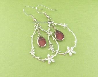 Delicate Floral Earrings, Pink Teardrop Bead in Tree Branch w Flowers Pendant Earrings, oval w flower pattern, silvertone hanging hoop twig