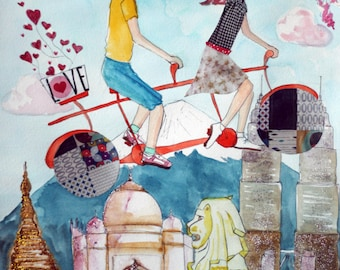 Custom Portrait - A Trip to Asia - Custom Couple Illustration - Mixed-Media and Collage