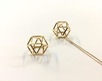2 pendants hexagonals 14mm for jewelry designs